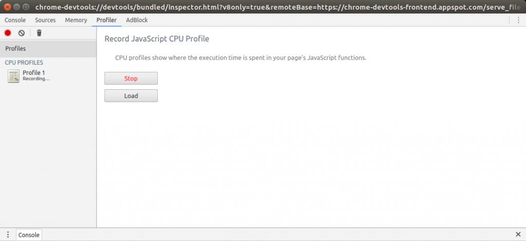 Chrome devtools profiler screen