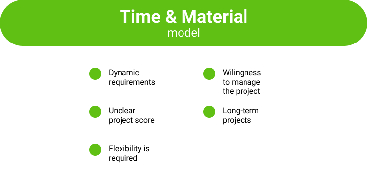 Time & material offshore software development engagement model