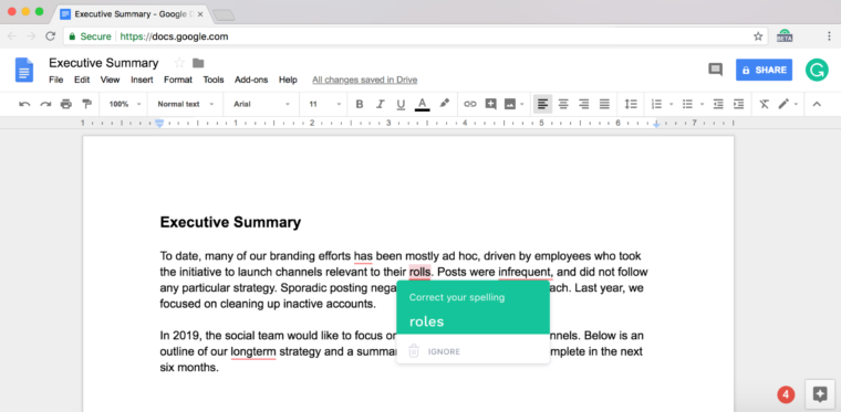 Grammarly example screen