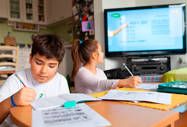 Children are studying remotely