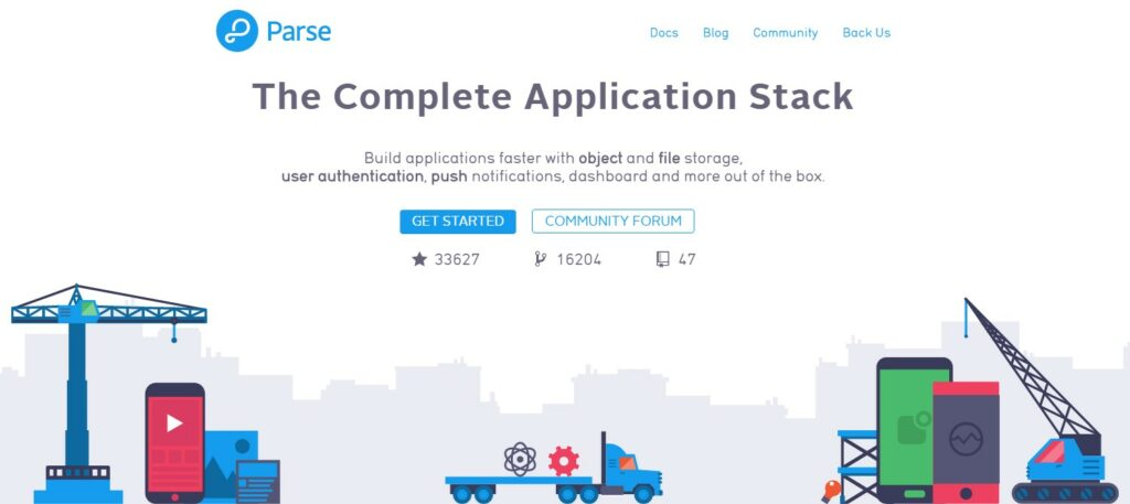 Main page of Parse site