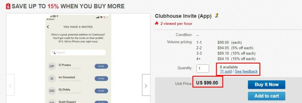 Clubhouse App Invite sold 11 times by $99