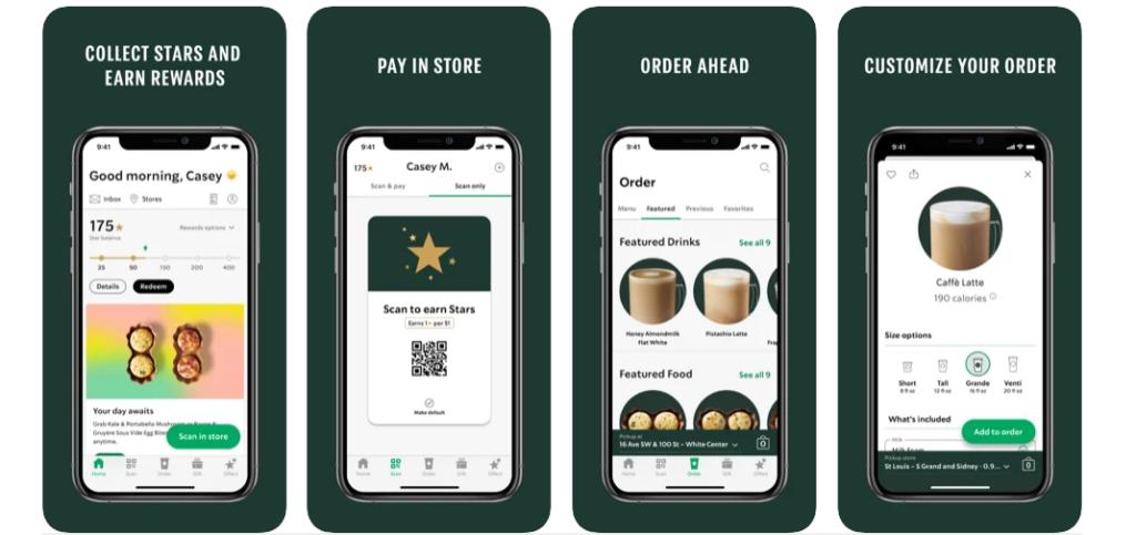 Starbucks app screenshots
