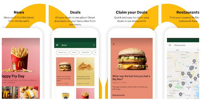 McDonald's app screenshots